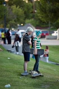 Skateboarders in LeBourdais Park.